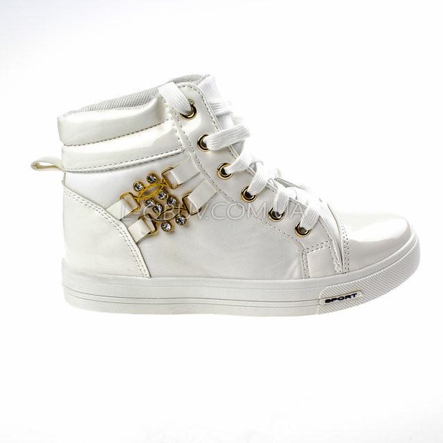 Сникерсы женские белые на шнурках фото №1