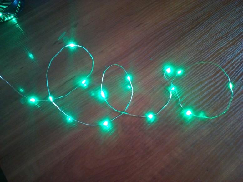 Уличная led гирлянда роса капля на батарейках, 20 светодиодов 2 метра фото №1
