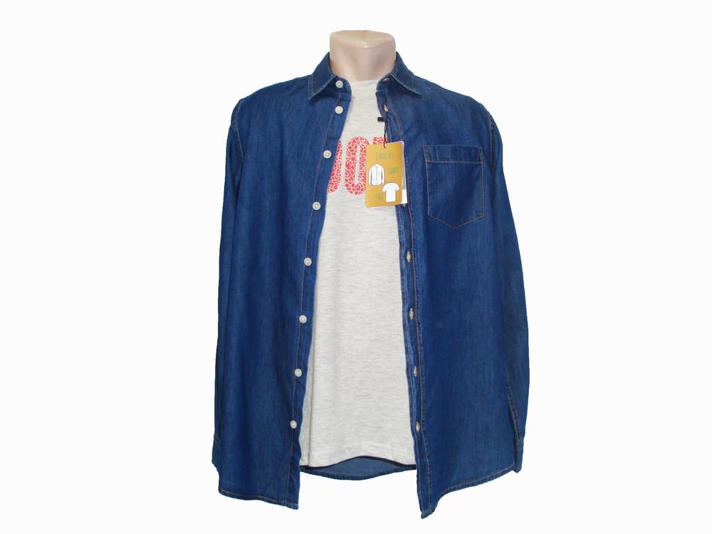 Мужской комплект (джинсовая рубашка + футболка) piazza italia. фото №1