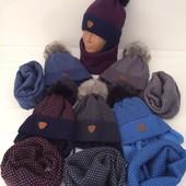 Зимние комплекты шапочка и хомут для мальчиков, размер 48-50 (на 3-4года). 6 цветов. Польша.