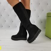 36 размер Сапоги ботинки с подворотом на высокой платформе