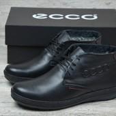 Мужские кожаные зимние ботинки Ecco, р. 40 - 45 код 300шн