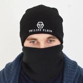 Шапка Philipp Plein, черная, мужская, зимняя, вязаная, подростковая
