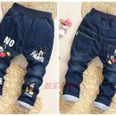 Зимние теплые джинсы с Микки. Утепленные штаны