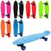 Скейт пластик. підвіска, колеса пвх, підшипник 608Z, 6 кольорів Артикул:MS 0847