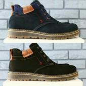 Зимние ботинки из натурального нубука на меху, код ks-4124