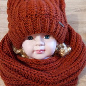Комплект зимний, шапочка на флисе с ушками   и хомут