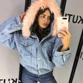 Женская джинсовая куртеа на меху