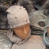 Зимние комплекты: шапка на флисе со снудом для девочек-подростков, объём головы 48-56 см