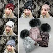 """Трендовые теплые шапочки """"Ugg"""" с натуральным помпоном. Выкуп 11.12 Мои реальные фото)"""