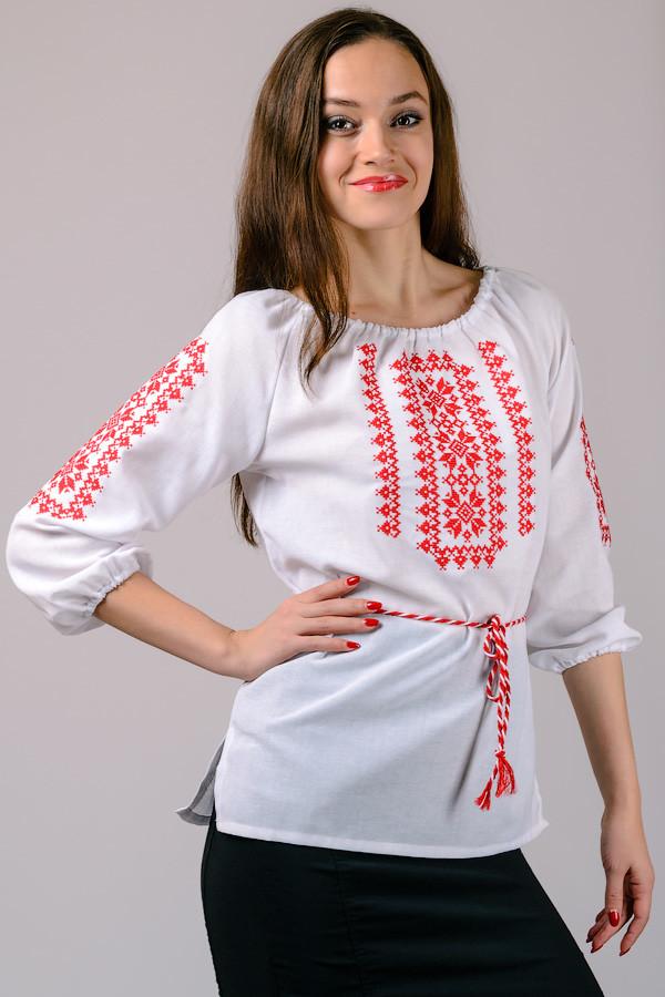 Блузка вышиванка, сорочка вишиванка , льон-габардін , р-р 42-52 фото №1
