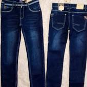 Отличные джинсы на флисе для парней 134-146р