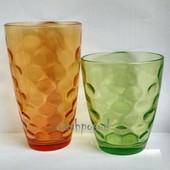 Большие стеклянные цветные стаканы набор 3шт