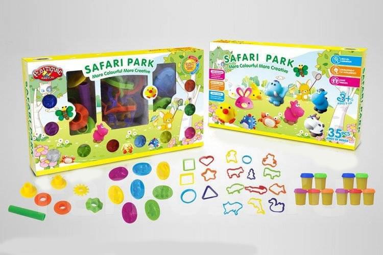 Сафари парк 9256 набор для лепки тесто plasticine волшебный пластилин фото №1