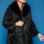 Шикарная шуба- пальто персидская каракульча и финский песец. италия коллекция 2018г. 46-48 Saga Furs