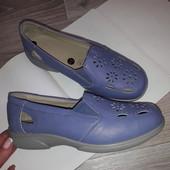 Easy Комфортные кожаные туфли на широкую ногу .25,5см сток
