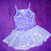 5-6л 110-116р Платье купальник для занятий танцев танцевальная одежда