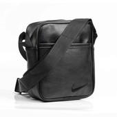 Хит !!! Барсетка Nike с черный значком из кожи !!! Мужская Сумка через плечо/