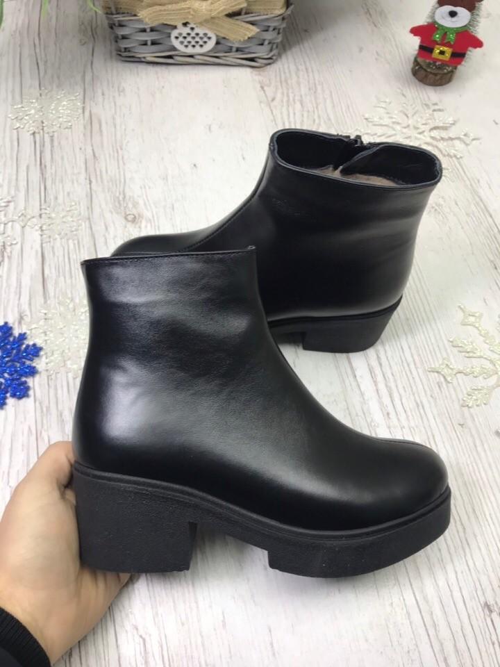 Кожаные зимние ботинки с толстой подошвой на низком каблуке фото №1