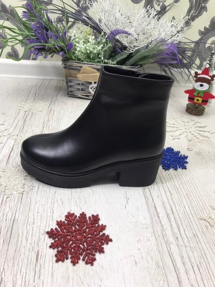 Кожаные зимние ботинки с толстой подошвой на низком каблуке фото №2