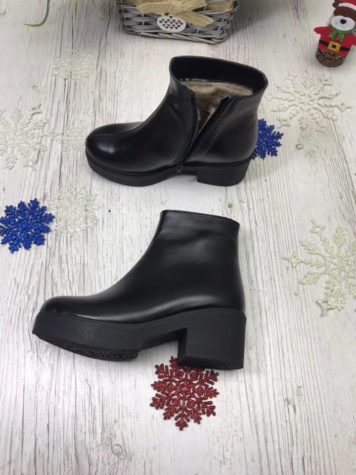 Кожаные зимние ботинки с толстой подошвой на низком каблуке фото №3
