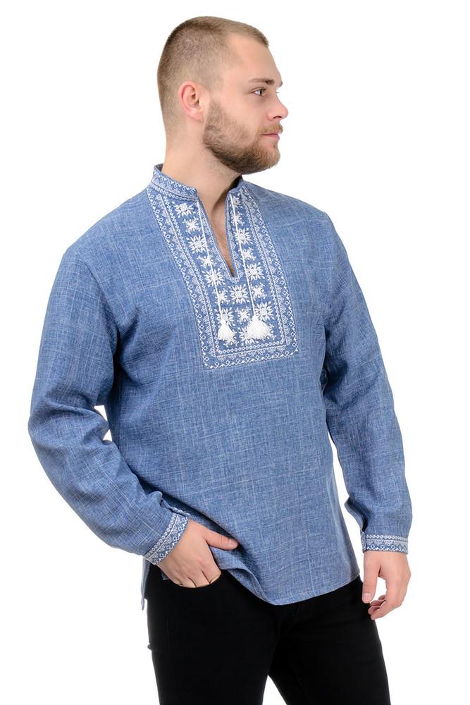 Мужская сорочка-вышиванка, лен-габардин, орнамент, р-р 44-54 фото №1