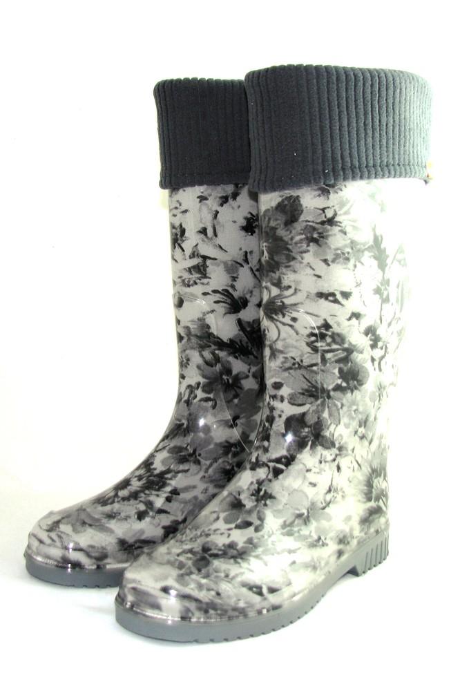 """Женские резиновые сапоги утеплённые съёмный носком """"цветы черные"""" фото №1"""
