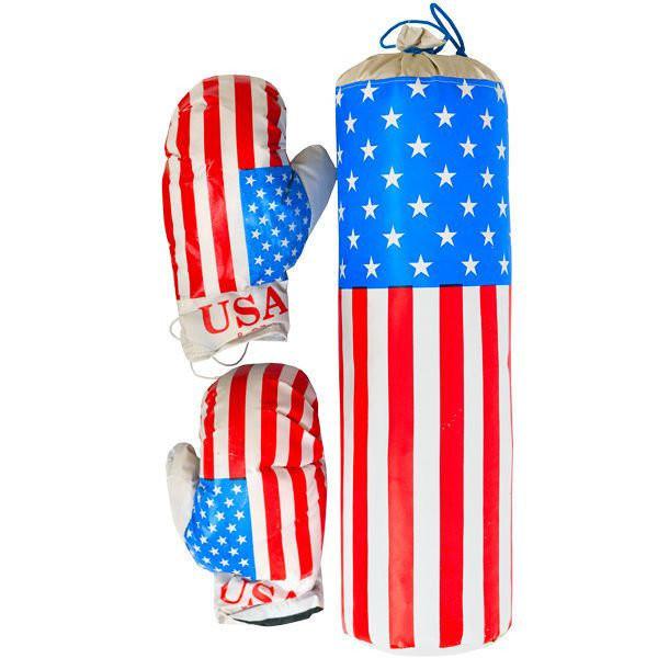 Боксерский набор «америка» средний. в комплект входит груша и две боксерские перчатки фото №1