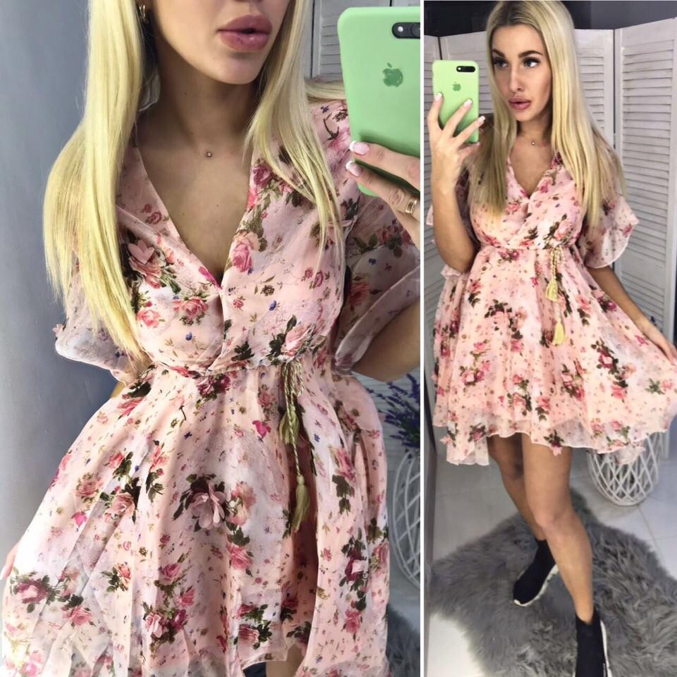 Платье в цветочек с пояском фото №1