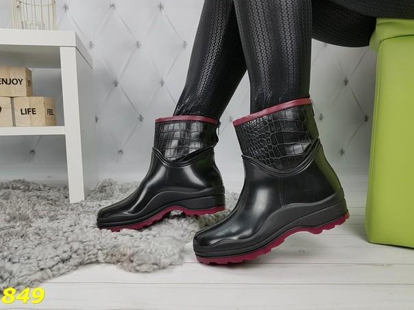 Полусапожки ботинки резиновые утепленные непромокаемые черные с бордовой окантовкой , с серой фото №1