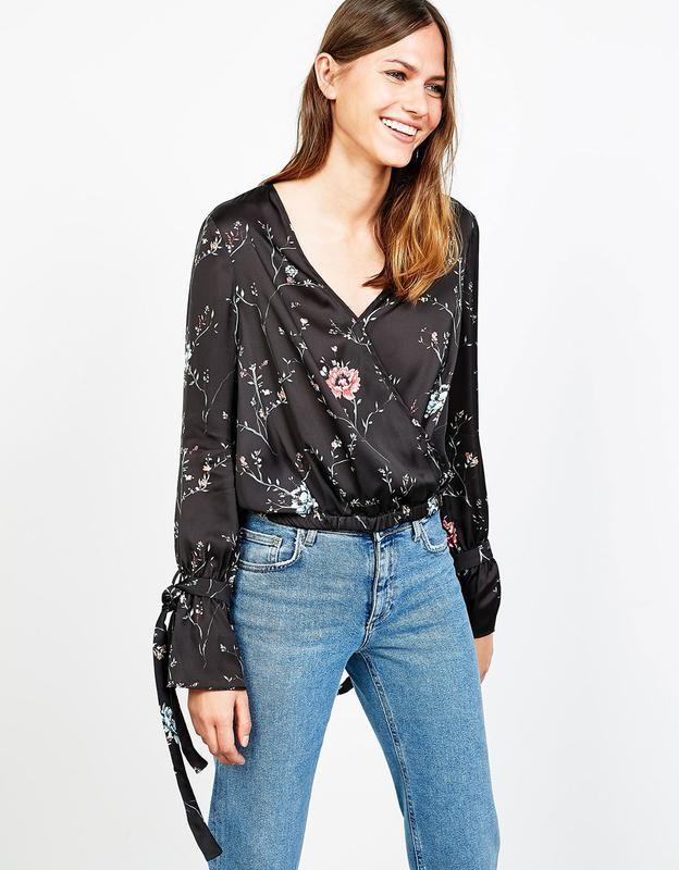 трубой блуза из шелка под джинсы фото дорогие