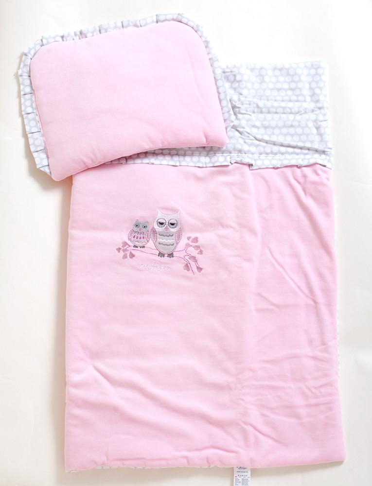 Комплект №1 в детскую коляску , розовый совы (вилюр) тм womar (zaffiro) фото №1