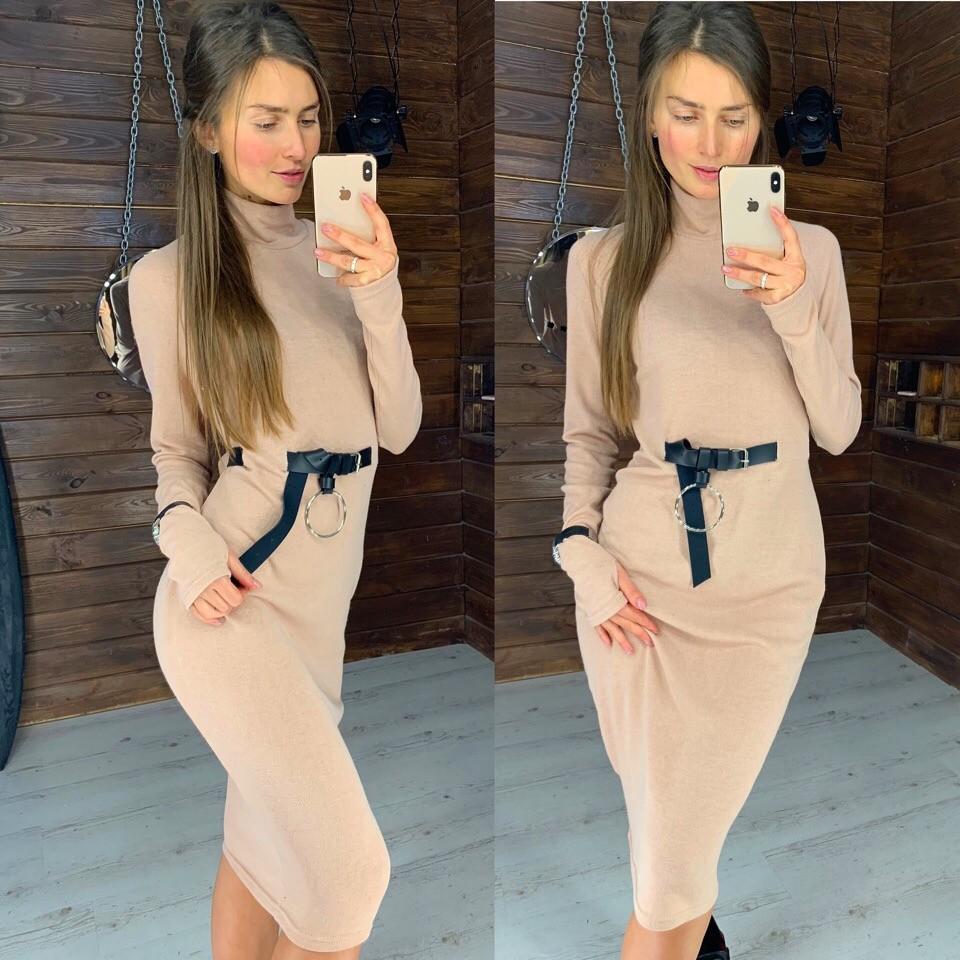 Женское ангоровое платье с поясом фото №1
