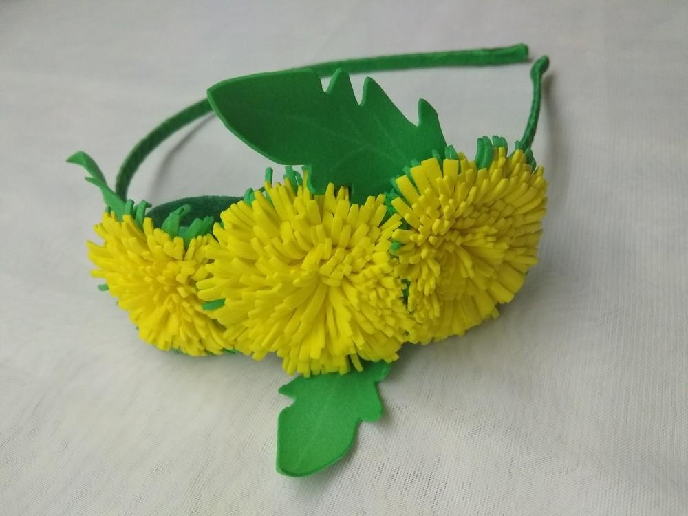 Обруч одуванчик,  кульбаба,  заколка,  цветы из фоамирана фото №1