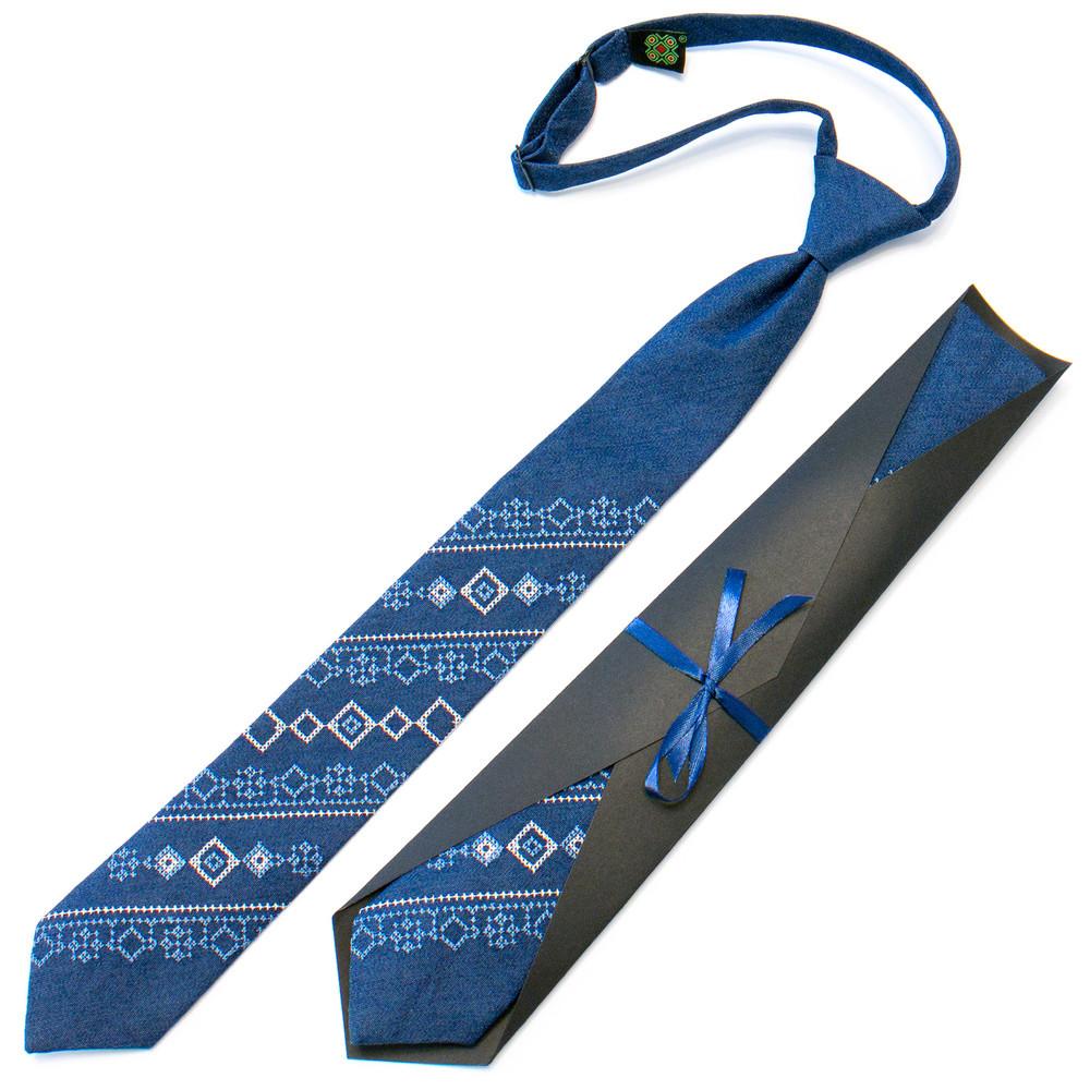 Підліткова джинсова краватка з вишивкою фото №1
