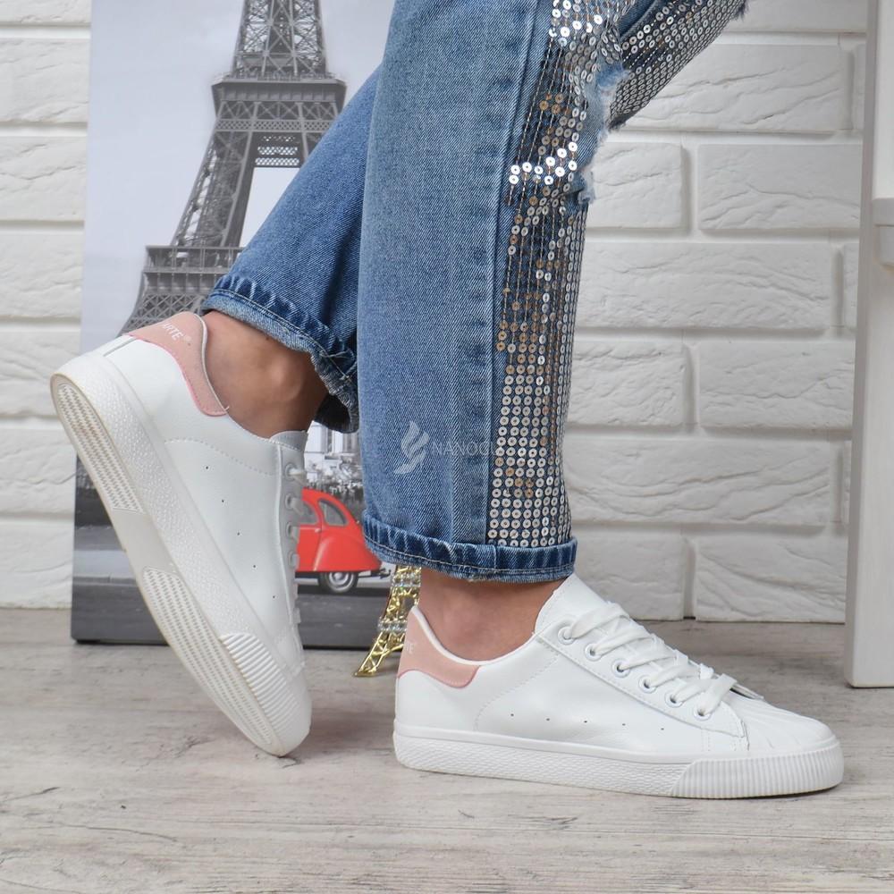 Кеды белые с пудровым задником prima d'arte женские слипоны на шнуровке фото №1