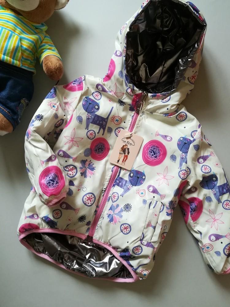 Модна двостороння курточка на дівчинку 86/104 фото №1