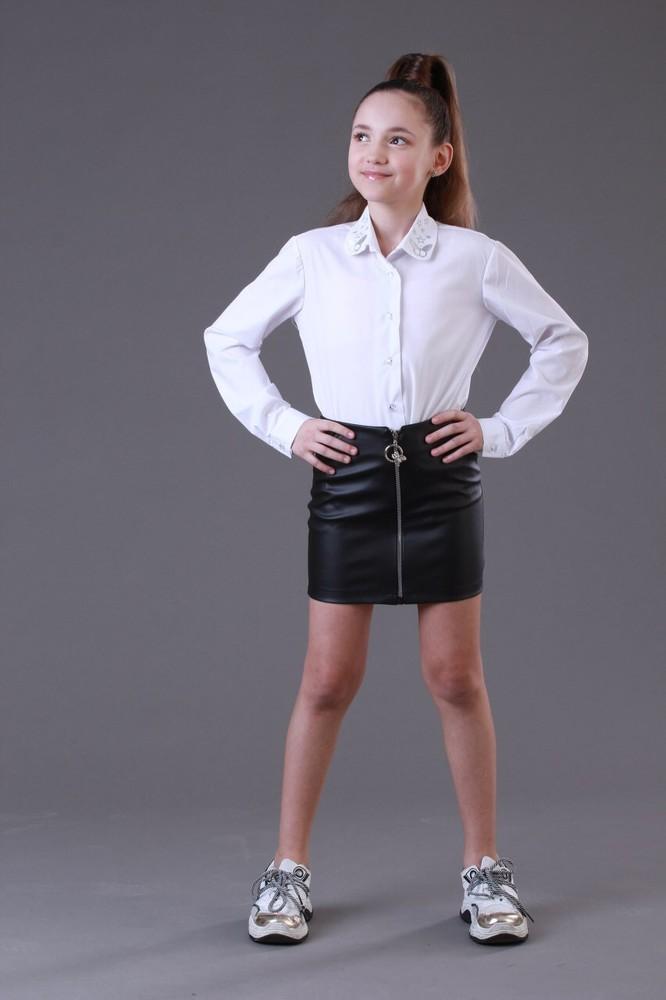 Кожаная юбка для девочек - 128-158 рр фото №1