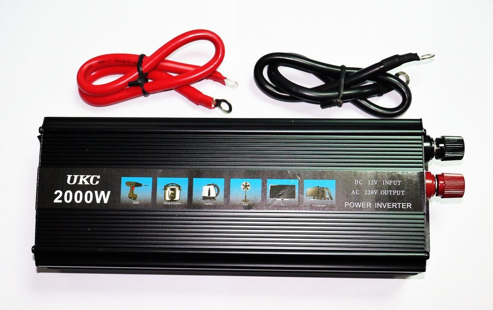 Преобразователь ukc 12v-220v 2000w black  инвертор фото №1