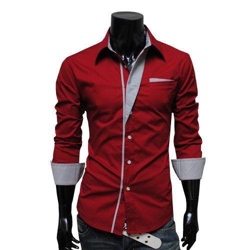 Рубашка мужская приталенная ( красная) код 2 фото №1