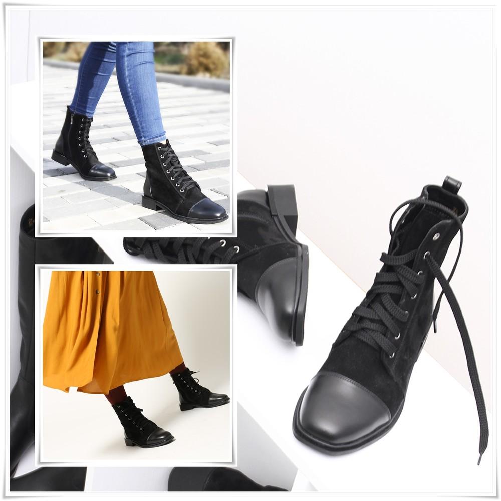 Трендовые замшевые ботинки с квадратным кожаным носком, ботинки деми замша на низком ходу фото №1