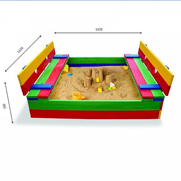 Детская деревянная песочница с лавочками-трансформерами (сосна р. 145*145 см) тм sportbaby фото №1