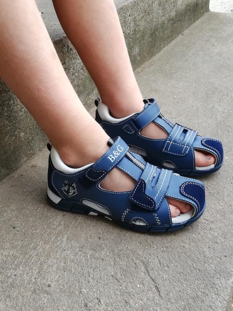 Детские кожаные босоножки, сандали 27-32 тм b&g для мальчиков фото №1