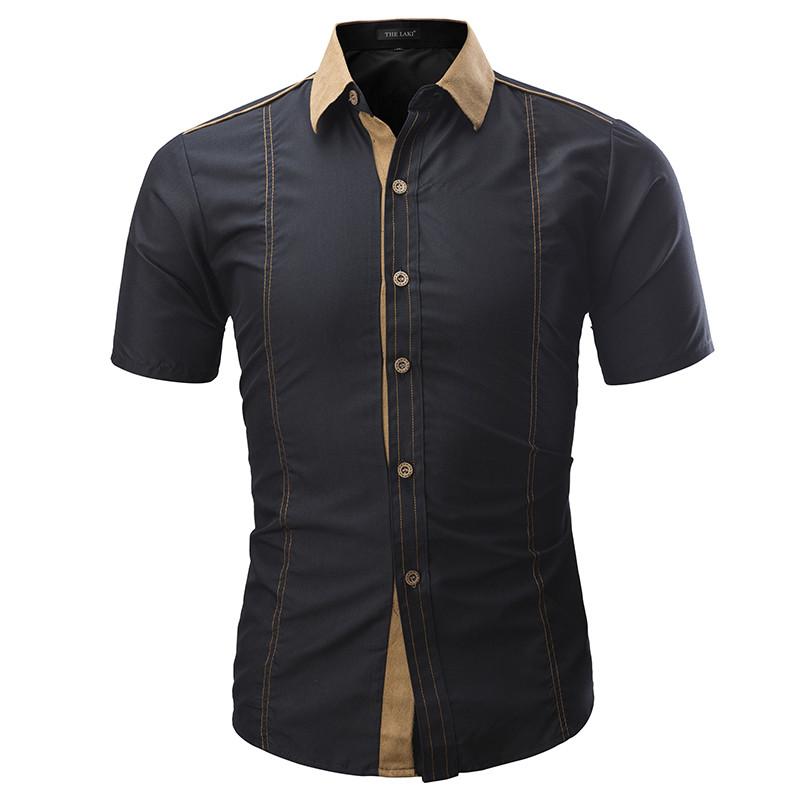 Рубашка мужская  короткий рукав (черный) код 123 фото №1
