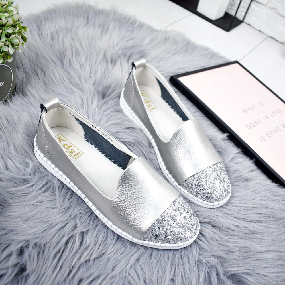 Туфли балетки женские lorri темное серебро фото №1