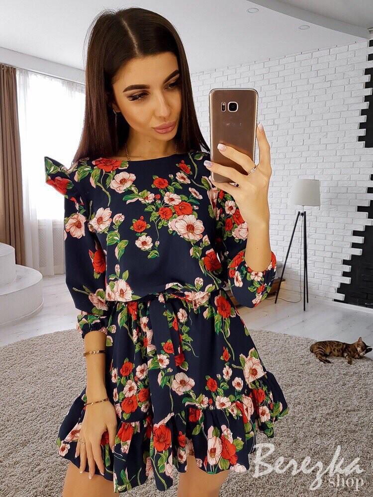 Новинка яркое цветочное платье мини фото №1