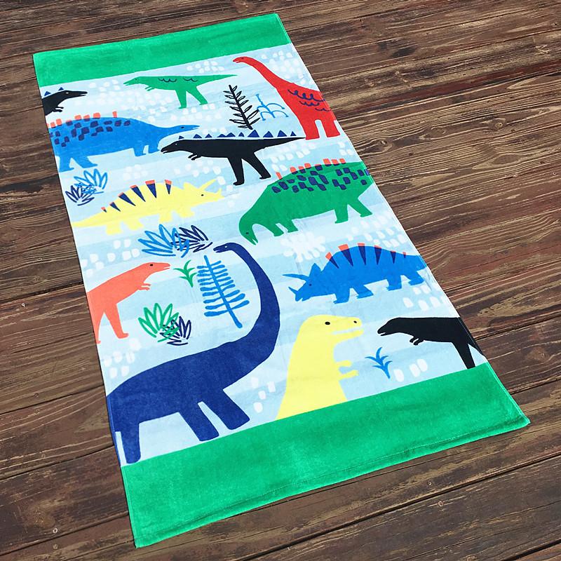 Полотенце махровое, голубое. динозавры. 160*80 см. фото №1