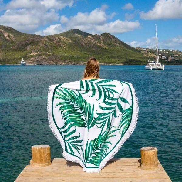 14-82 коврик листья пальмы подстилка на пляж пляжний килимок  настенный гобелен декор фото №1