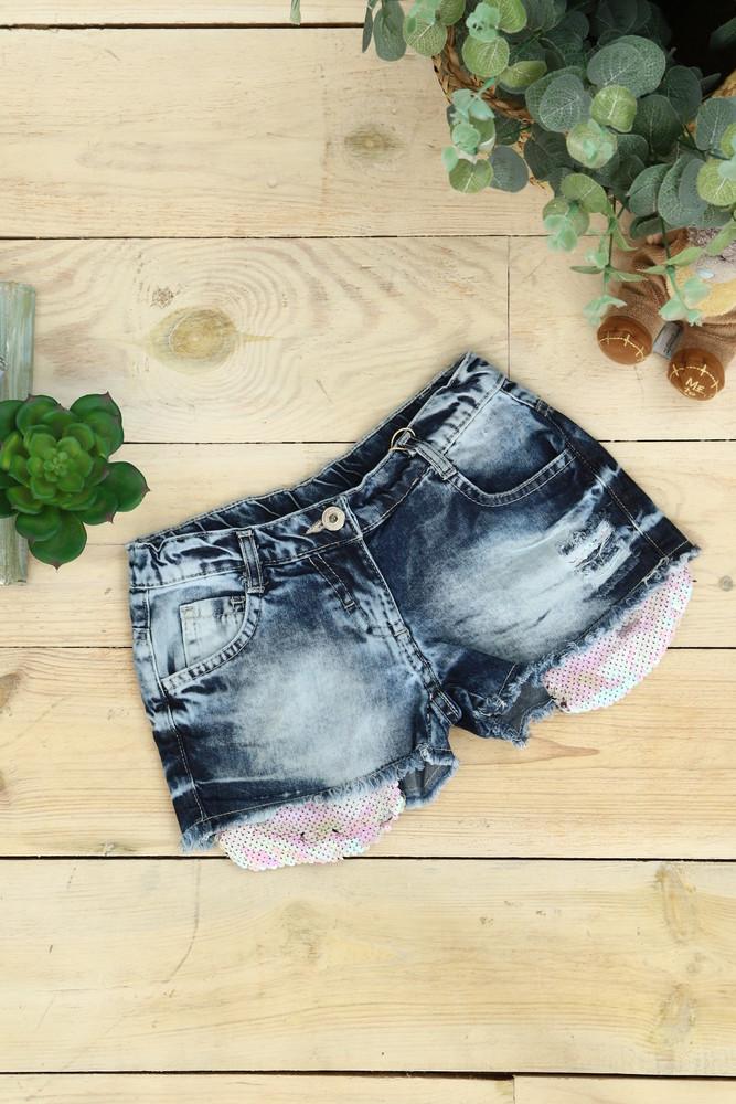 Джинсовые шорты для девочки с паетками турция 110-122 рост фото №1