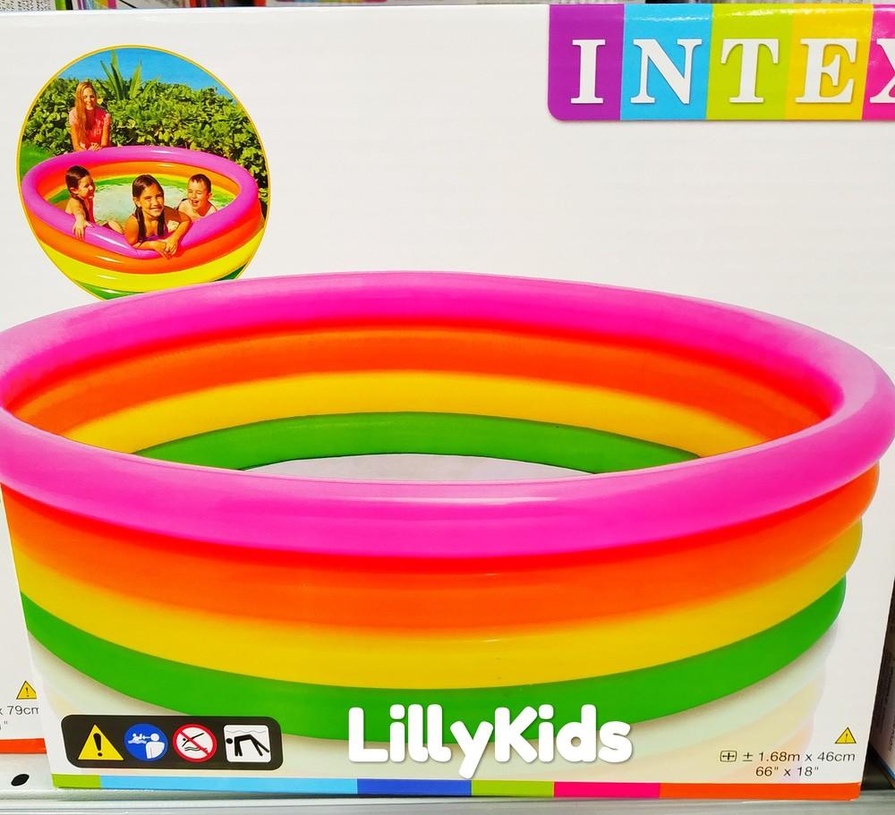 """Детский надувной бассейн  intex 56441 """"радуга"""" , 168 х 46,  интекс фото №1"""